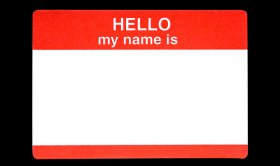 Red name badge with the words Hellow my name is with a clipping path ** Note: Slight graininess, best at smaller sizes